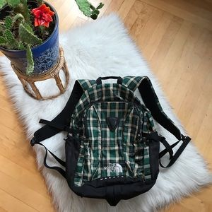 The North Face plaid backpack
